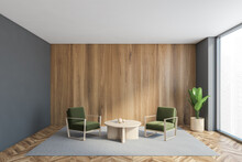 Two Green Armchairs With Coffe...