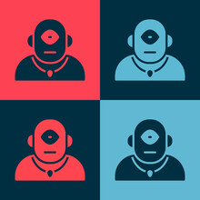 Pop Art Cyclops Icon Isolated On Color Background. Vector.