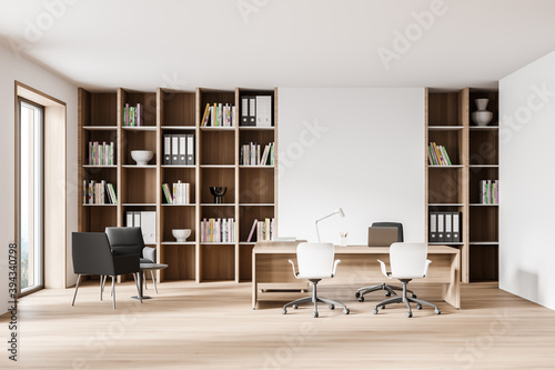 White and wooden CEO office interior