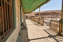 Veranda Of An Old Abandoned Wooden House In A Saltpeter Mining Town In The Atacama Desert Of Chile, South America