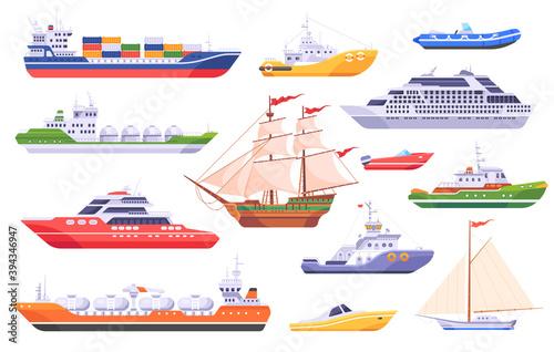 Canvas Print Set of maritime ships