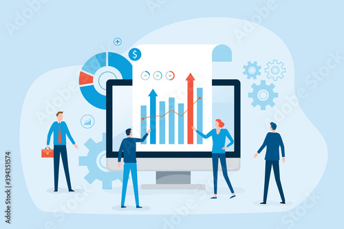 business people team analytics Data and research on web monitoring report dashboard monitor concept and finance investment graph report performance results with business meeting working concept