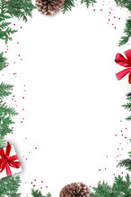 Fir Branch And Gift On White Background With Copy Space For Text. Christmas. Holiday Concept.