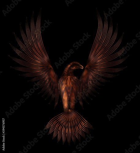 Fototapeta premium abstract bronze eagle sculpture symbol