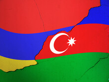 Fags Of Armenia And Azerbaijan With A Crack Between Them