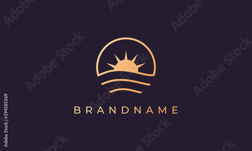 Fototapeta Ocean wave and sun in a circle with a gold line art style suitable for logo and icon obraz