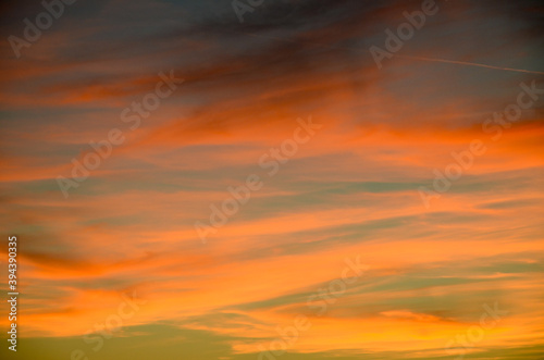 Fototapety, obrazy: Beautiful  sunset at the sea. Orange tropical sunset. Colorful clouds on the sky.