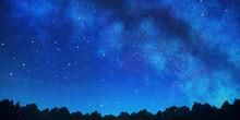 天の川の見える星空の...