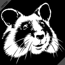 Black And White Linear Paint Draw Hamster Vector Illustration Art