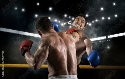 Fototapeta premium Box professional match on smoke background