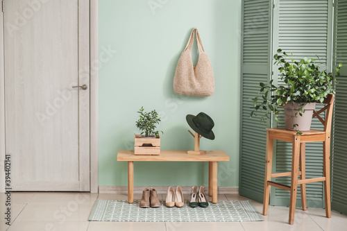 Stylish interior of modern hall with table, houseplants and shoes Fototapet