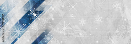 Geometric grunge Christmas background with snowflakes