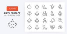 Baby 1 Line Icons 256 X 256