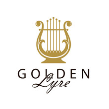 Golden Ancient Lyre Icon Isolated On White Background