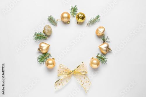 Fototapeta Beautiful Christmas composition on light background obraz