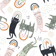 Seamless Childish Pattern With Flying On Rainbows Cats. Creative Kids Hand Drawn Texture For Fabric, Wrapping, Textile, Wallpaper, Apparel. Vector Illustration