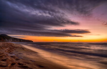 Long Exposure At Sunset On The...