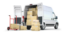 Delivery Van With Open Doors And Hand Truck With Cardboard Boxes Isolated On White Background. Delivery And Shipping Concept.