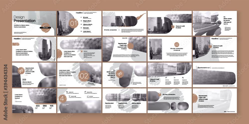 Fototapeta Geometric Bronze Color Presentation Element Templates. Vector infographics. For use in Presentation, Flyer and Leaflet, SEO, Marketing, Webinar Landing Page Template, Website Design, Banner.