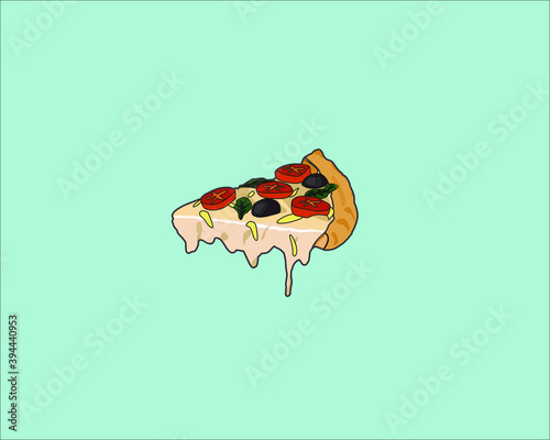 Last pizza slice illustration for background and commercial Junk Food Comfort Food Wall mural