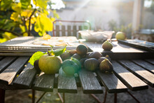 Apples And Figs On Garden Table, Sweden