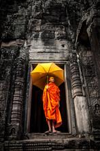 Novice Monk In Ruined Building, Cambodia