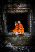 Novice Monk Meditating, Cambodia