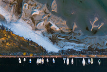 Aerial View Of Boats Moored At Coast, Sweden