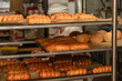 Bakery with various types of pastries, bread and rolls