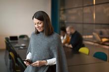 Businesswoman Using Phone In Boardroom, Sweden