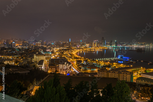 Night panorama of Baku boulevard in Azerbaijan Canvas