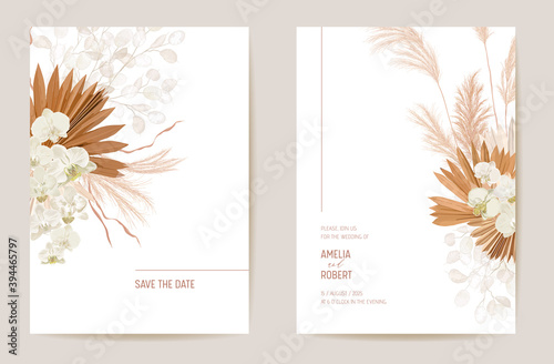 Obraz na plátně Wedding dried lunaria, orchid, pampas grass floral Save the Date set