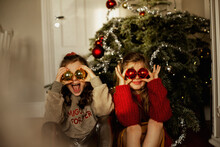 Girls In Front Of Christmas Tree, Sweden