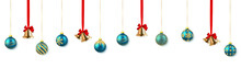 Festive Christmas Or New Year Background. Christmas Gold Bell With Red Bow And Xmas Blue Ball. Vector Illustration