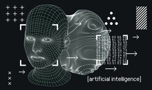 Silhouette Of 3d Low Poly Human Head. Concept Of Artificial Intelligence And Neural Network.