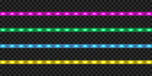 LED Strip Set. Colorful Realistic Illuminated Tape Decoration