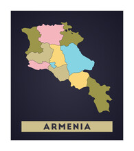 Armenia Map. Country Poster With Regions. Shape Of Armenia With Country Name. Cool Vector Illustration.