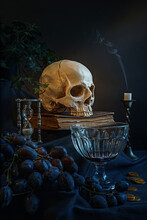 Vanitas - Human Skull With Grapes, Coins, Money, Book, Hourglass, Candle And Ivy