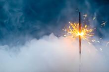 Fire Sparkler In Dense Smoke, ...