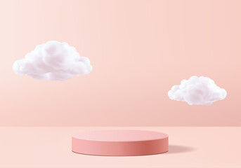 Background vector 3d pink rendering with podium and minimal cloud white scene, minimal cloud abstract background 3d rendering geometric shape pink pastel podium. Stage and cloud 3d render