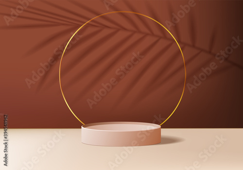 Obraz Podium background minimal scene with spotlight geometric platform. background vector 3d rendering with scene. stand to show cosmetic product. Stage showcase on pedestal modern 3d studio brown scene - fototapety do salonu