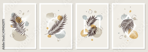 Stampa su Tela Set of pastel compositions of tropical leaves, liquid abstract shapes and geomet