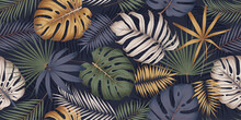 Seamless Multicolored Pattern With Exotic Tropical Plants, Monstera Leaves And Palm Trees, Exotic Botany Composition In Trendy Contemporary Collage Style, Vector Illustration