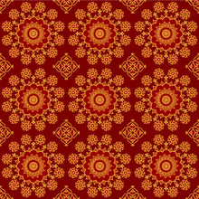 Red And Gold Mandala Background, Seamless Pattern In Indian Style