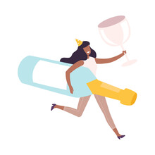 Young Woman Running With Giant Bottle Of Champagne And Glass, Tiny Person Celebrating Birthday Or Important Event Cartoon Style Vector Illustration