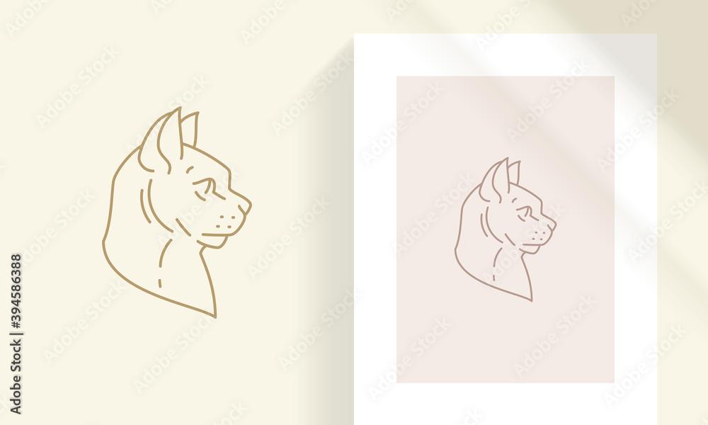 Fototapeta Creative sphynx cat head silhouette linear vector illustration.
