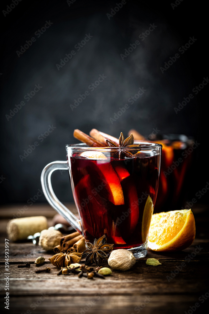 Fototapeta Mulled wine, hot warming drink with spices