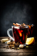 Mulled Wine, Hot Warming Drink With Spices