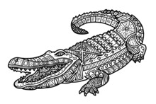 Vector Illustration Of Cute Ornate Zentangle Crocodile For Children Or For Adult Anti Stress Coloring Book