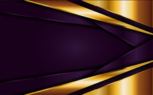 Luxury Purple Background Combine With Golden Lines Shapes Element. Vector Illustration Design Template Element.